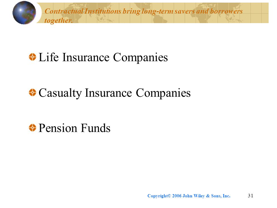 Life Insurance Companies Casualty Insurance Companies Pension Funds