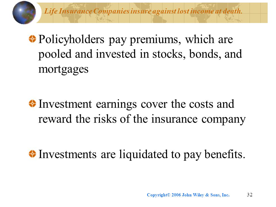 Life Insurance Companies insure against lost income at death.
