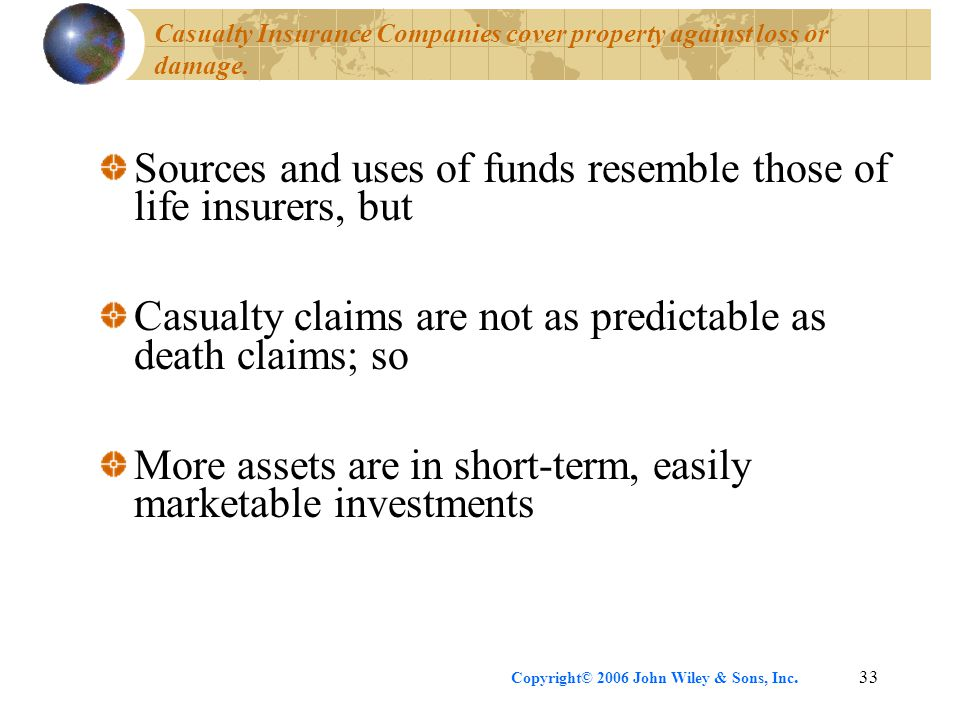 Casualty Insurance Companies cover property against loss or damage.