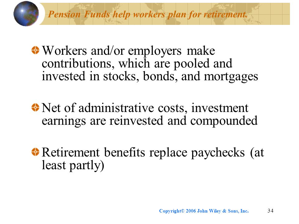 Pension Funds help workers plan for retirement.