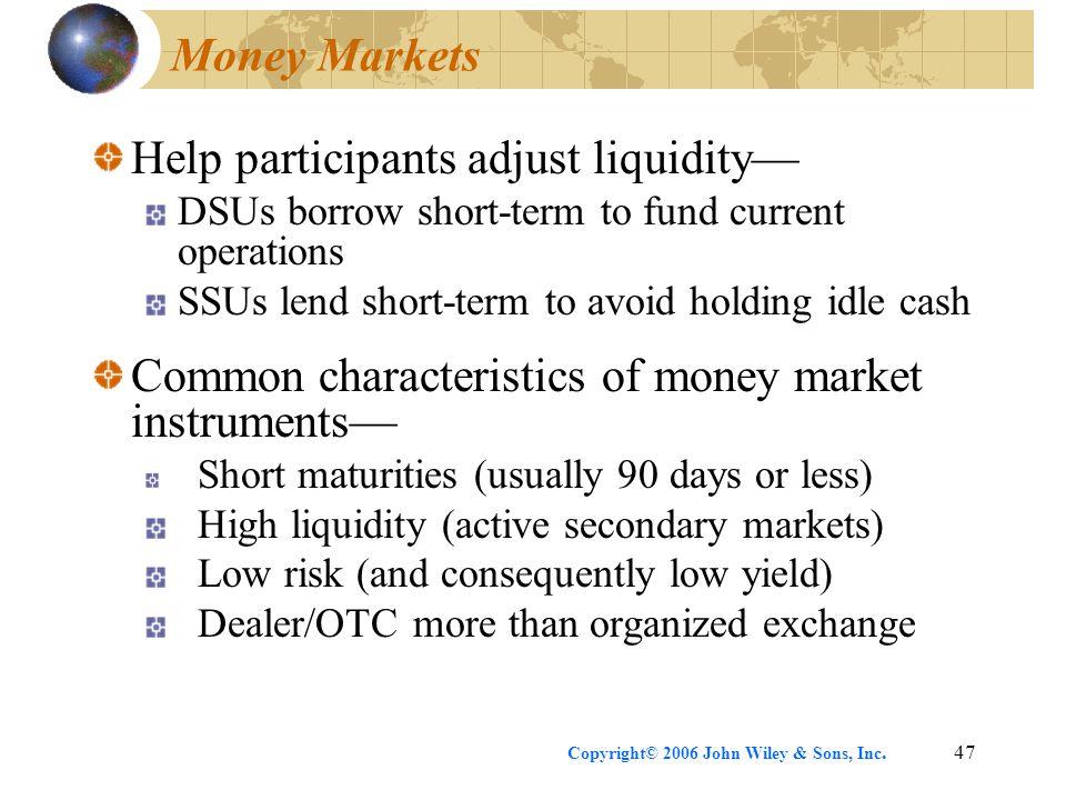Help participants adjust liquidity—