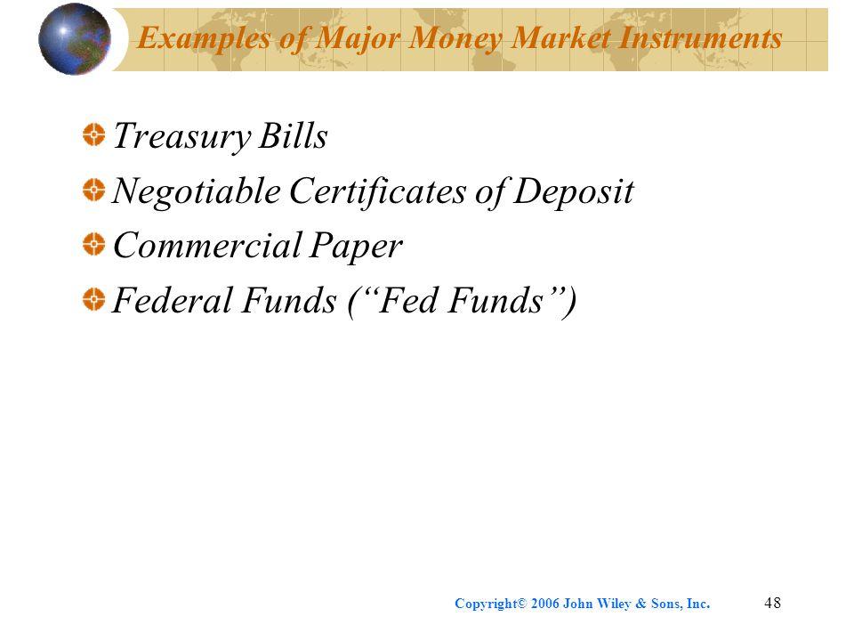 Examples of Major Money Market Instruments