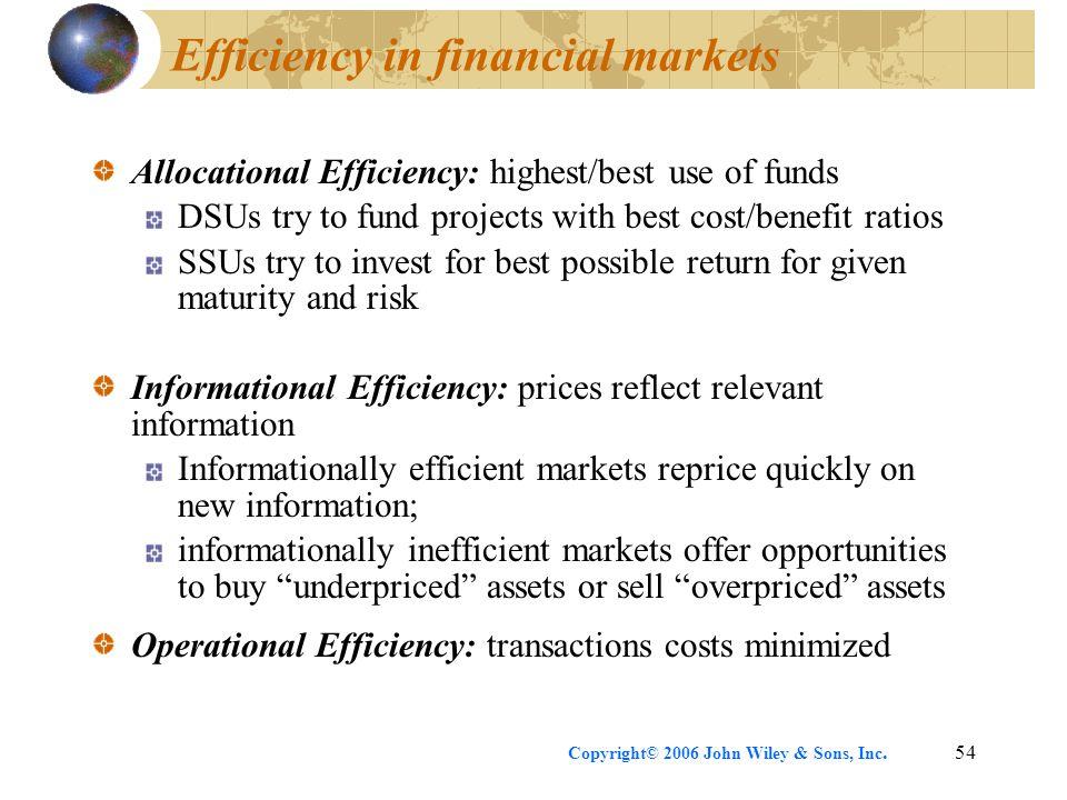 Efficiency in financial markets