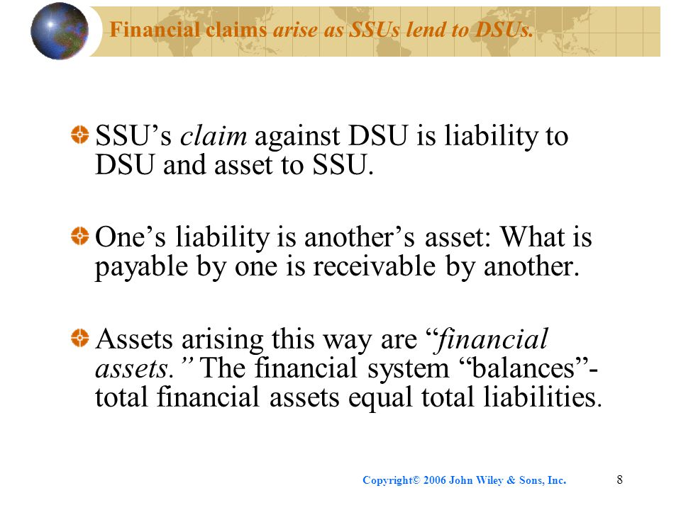 Financial claims arise as SSUs lend to DSUs.
