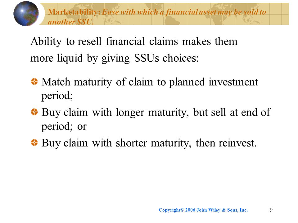 Ability to resell financial claims makes them
