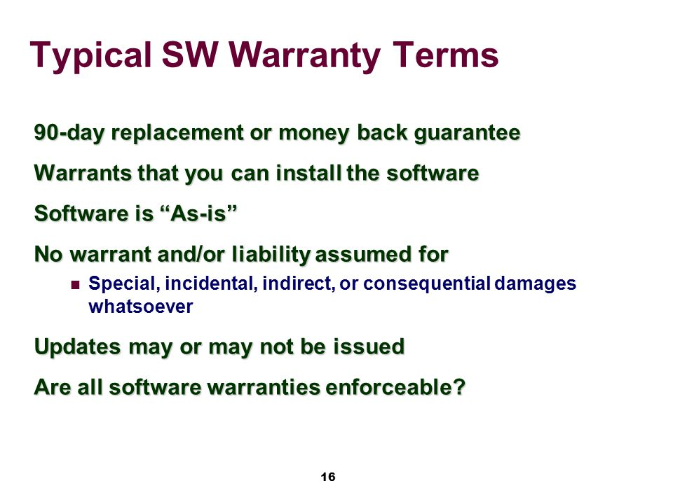 Typical SW Warranty Terms