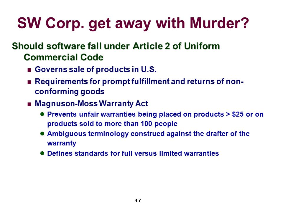 SW Corp. get away with Murder