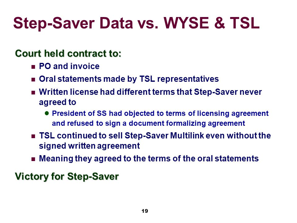 Step-Saver Data vs. WYSE & TSL
