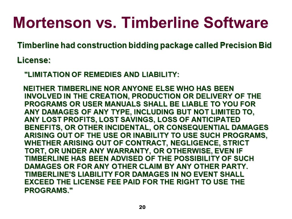 Mortenson vs. Timberline Software