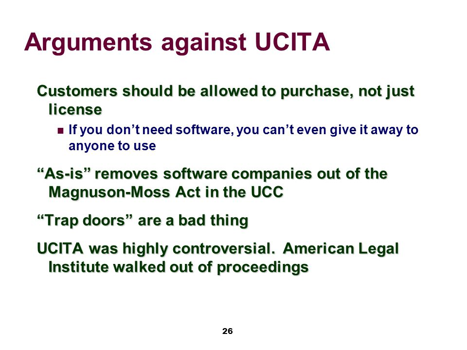 Arguments against UCITA
