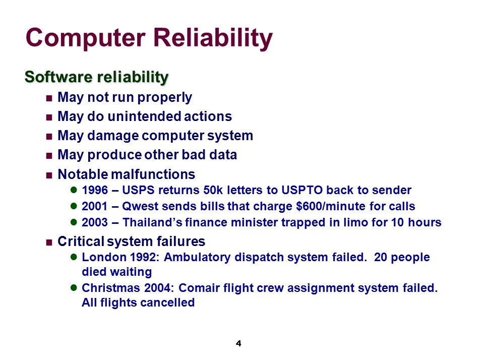 Computer Reliability Software reliability May not run properly