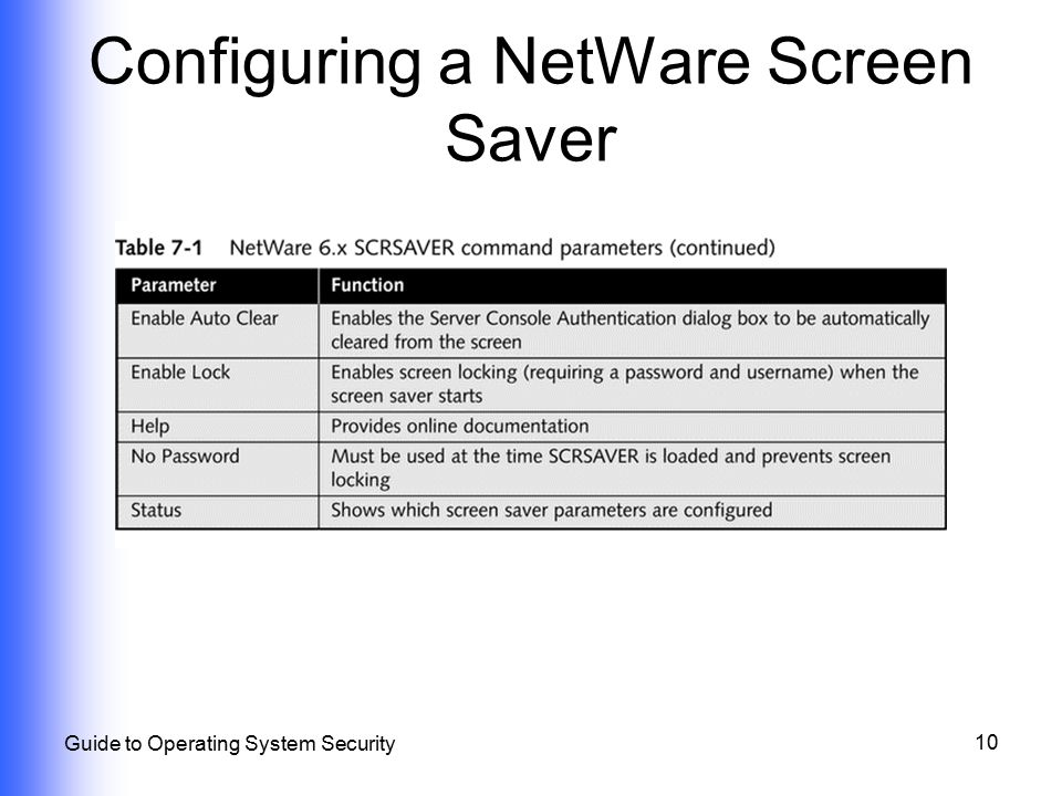 Configuring a NetWare Screen Saver