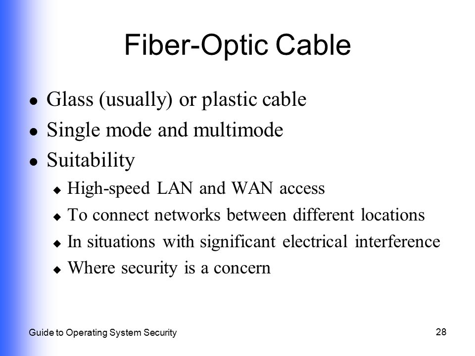 Fiber-Optic Cable Glass (usually) or plastic cable