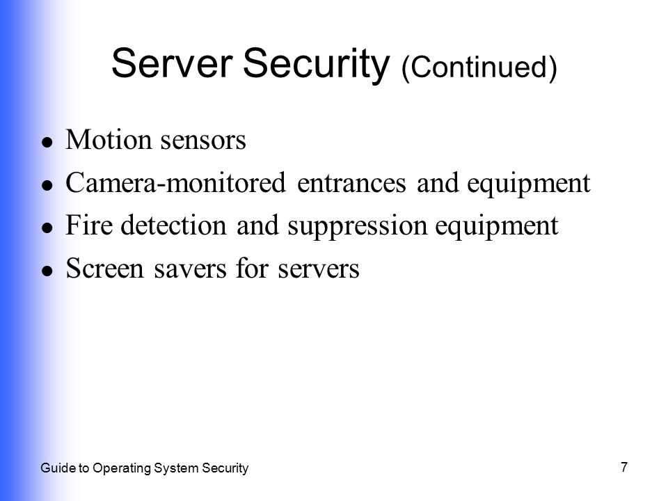 Server Security (Continued)