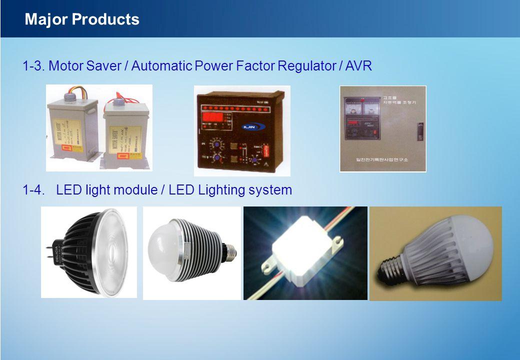 Major Products 1-3. Motor Saver / Automatic Power Factor Regulator / AVR.