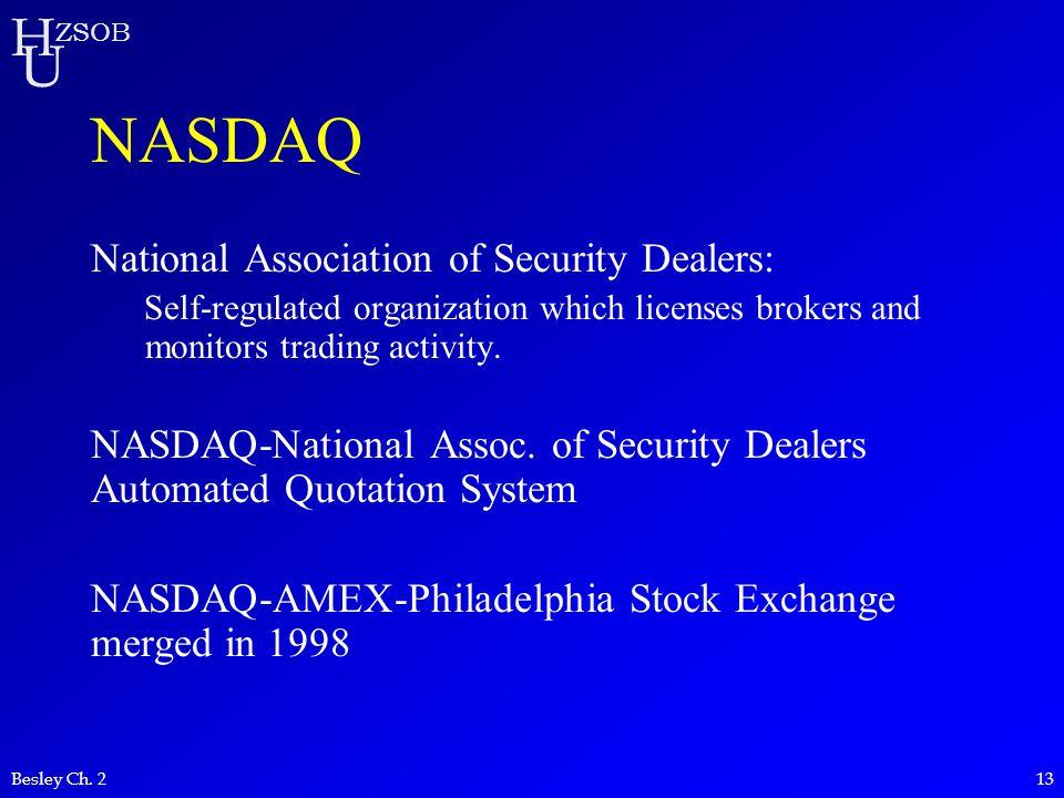 NASDAQ National Association of Security Dealers: