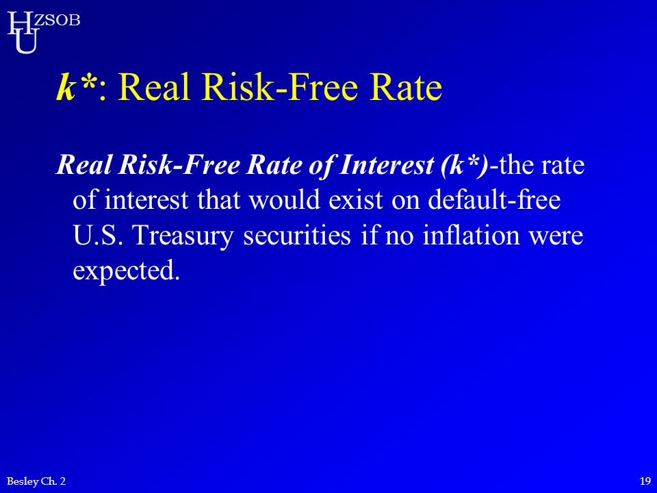 k*: Real Risk-Free Rate