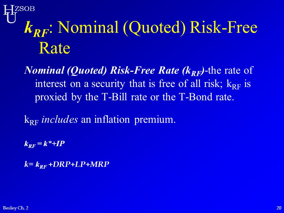kRF: Nominal (Quoted) Risk-Free Rate