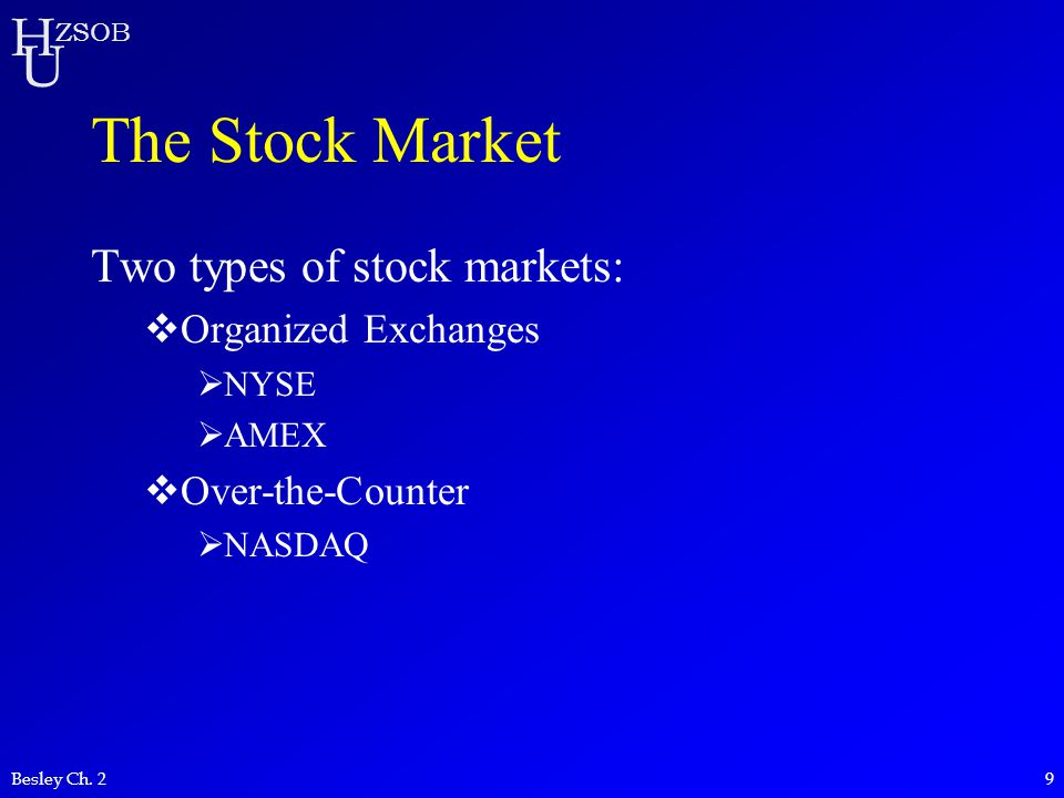 The Stock Market Two types of stock markets: Organized Exchanges