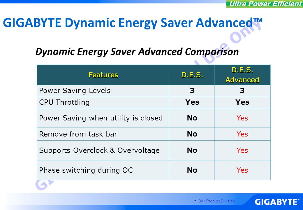 DES features One Click Power Savings with User-Friendly Interface