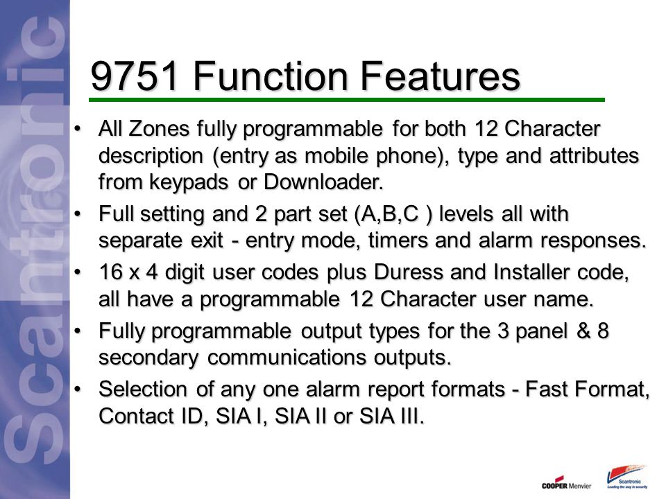 9751 Function Features