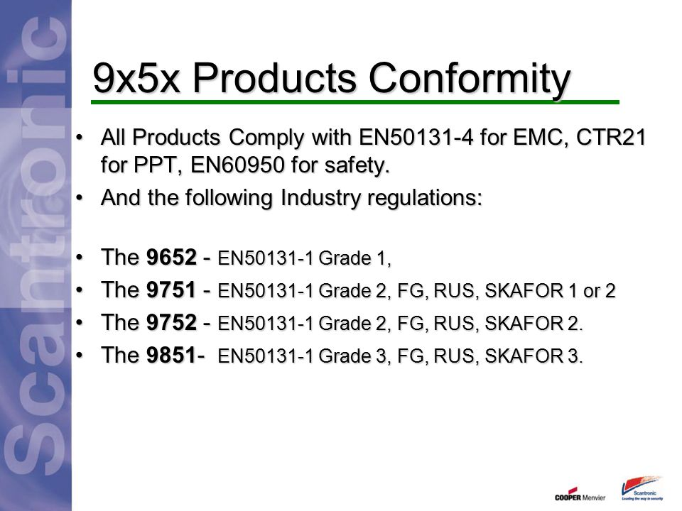 9x5x Products Conformity