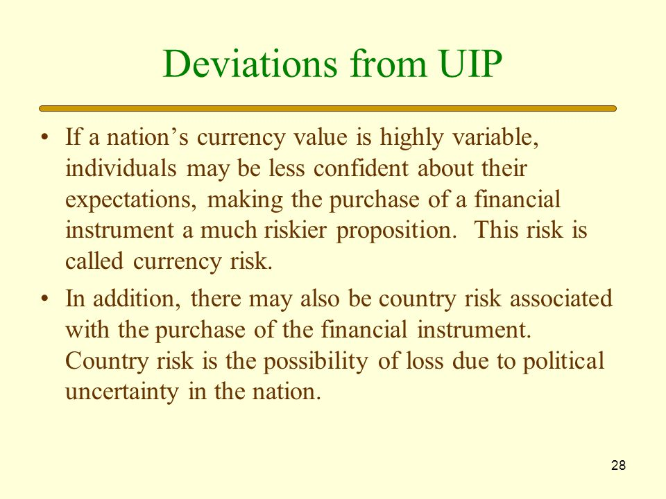 Deviations from UIP