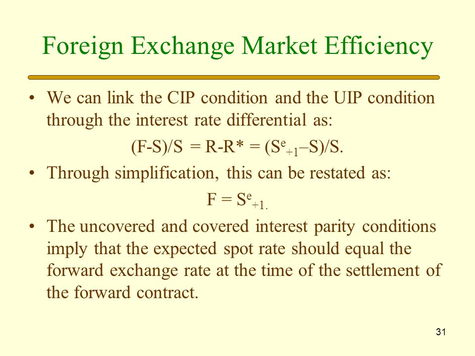 Foreign Exchange Market Efficiency