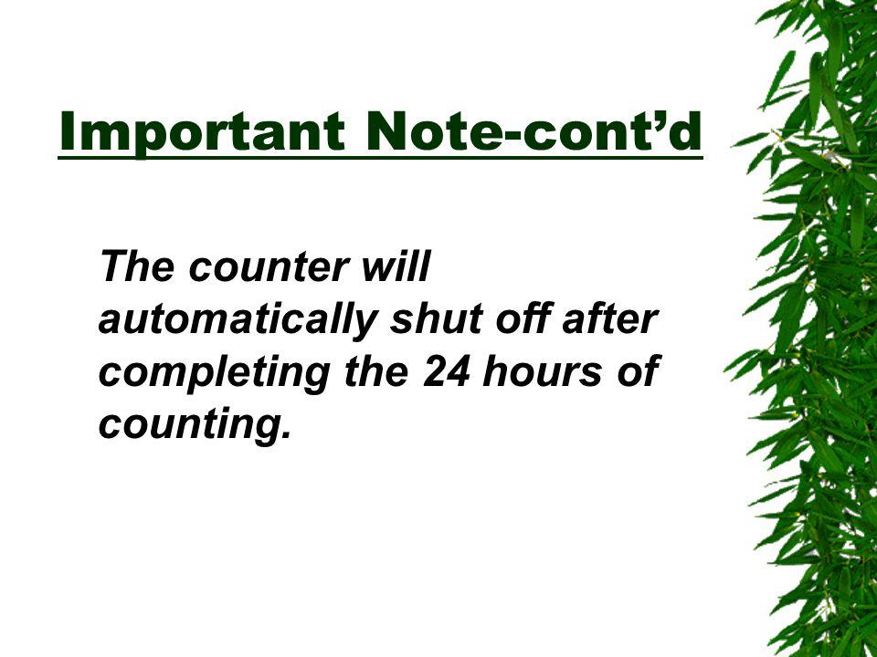 Important Note-cont'd