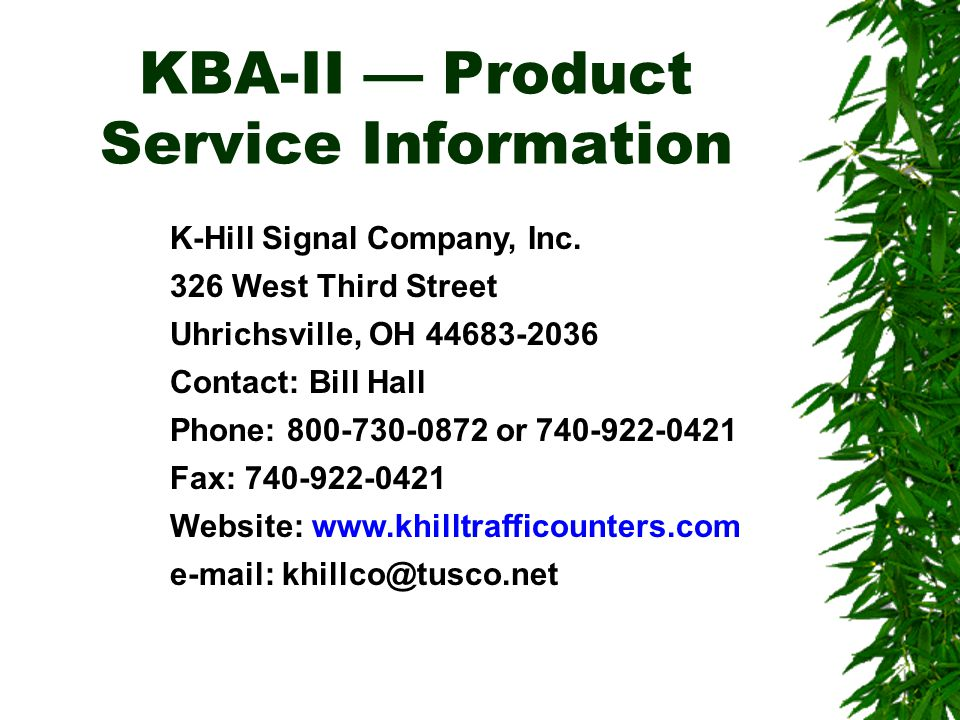 KBA-II — Product Service Information