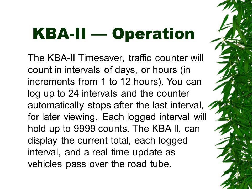 KBA-II — Operation