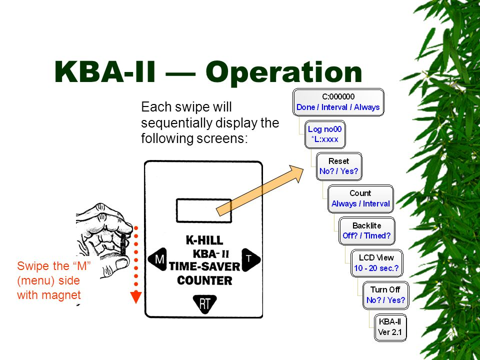 KBA-II — Operation Each swipe will sequentially display the following screens: Swipe the M (menu) side.