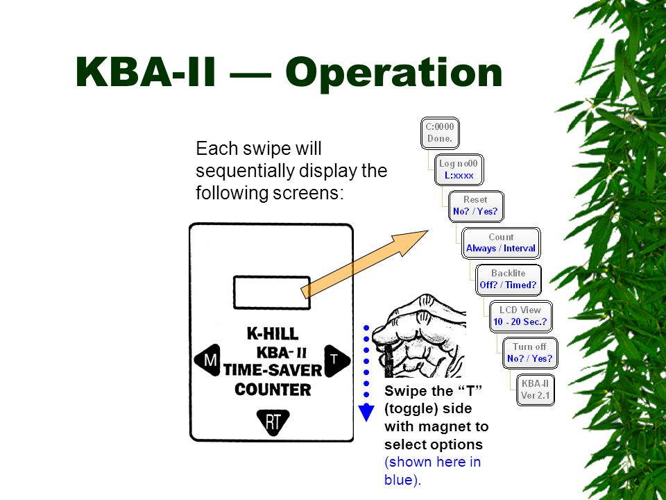 KBA-II — Operation Each swipe will sequentially display the following screens: Swipe the T (toggle) side.
