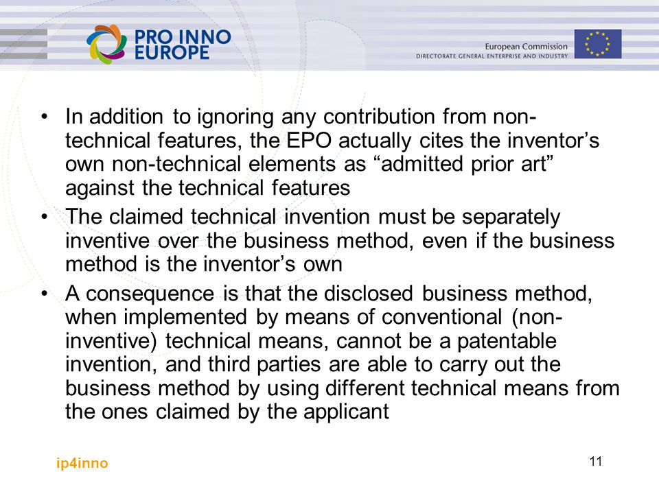 In addition to ignoring any contribution from non-technical features, the EPO actually cites the inventor's own non-technical elements as admitted prior art against the technical features
