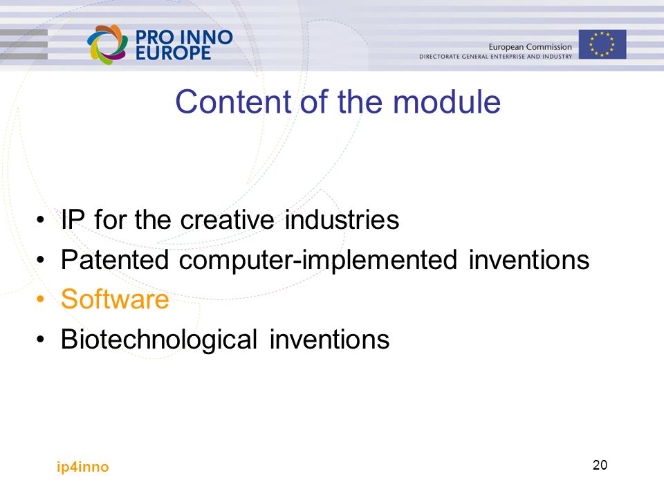 Content of the module IP for the creative industries