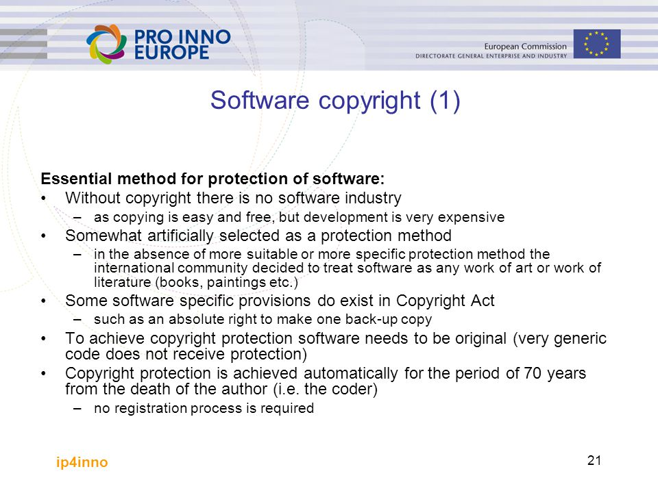 Software copyright (1) Essential method for protection of software: