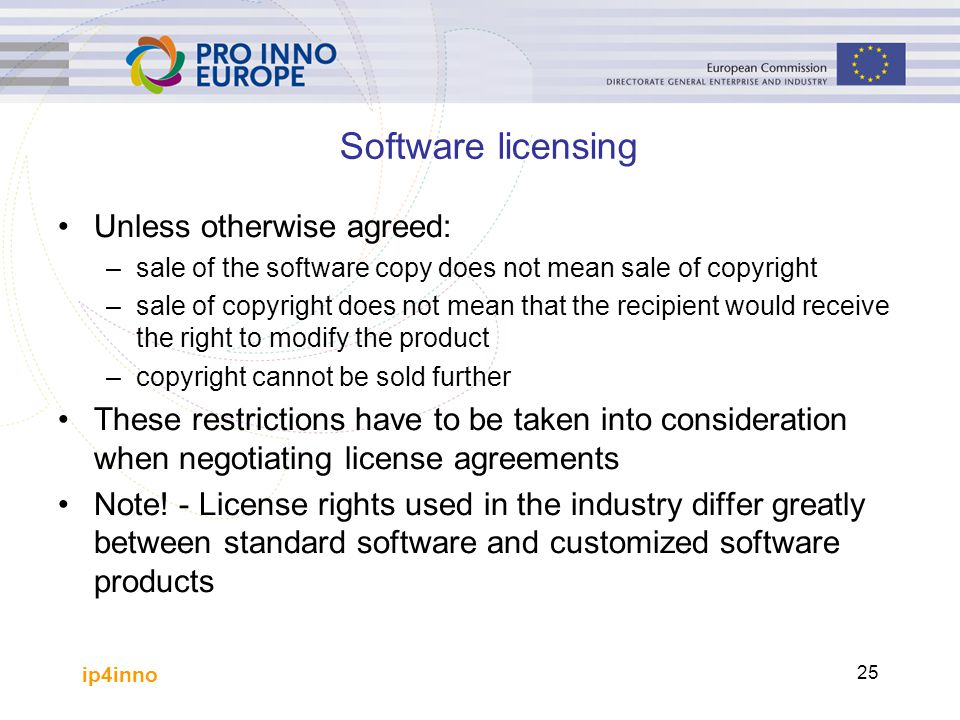 Software licensing Unless otherwise agreed: