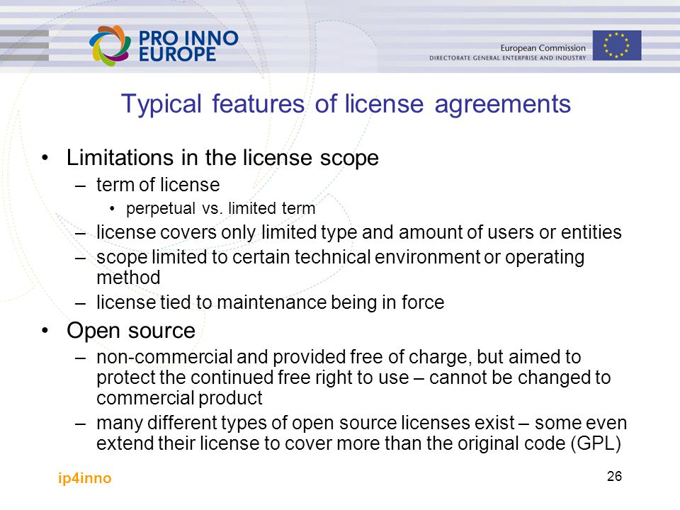 Typical features of license agreements