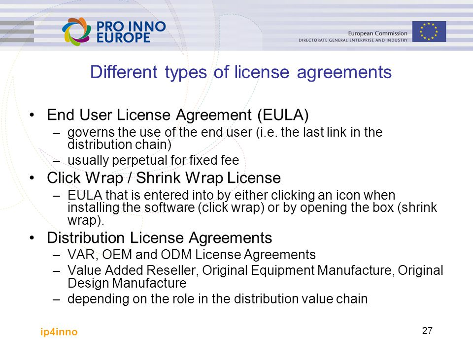 Different types of license agreements