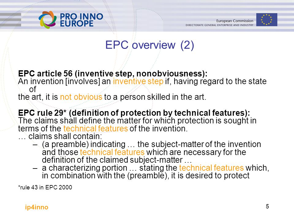 EPC overview (2) EPC article 56 (inventive step, nonobviousness):