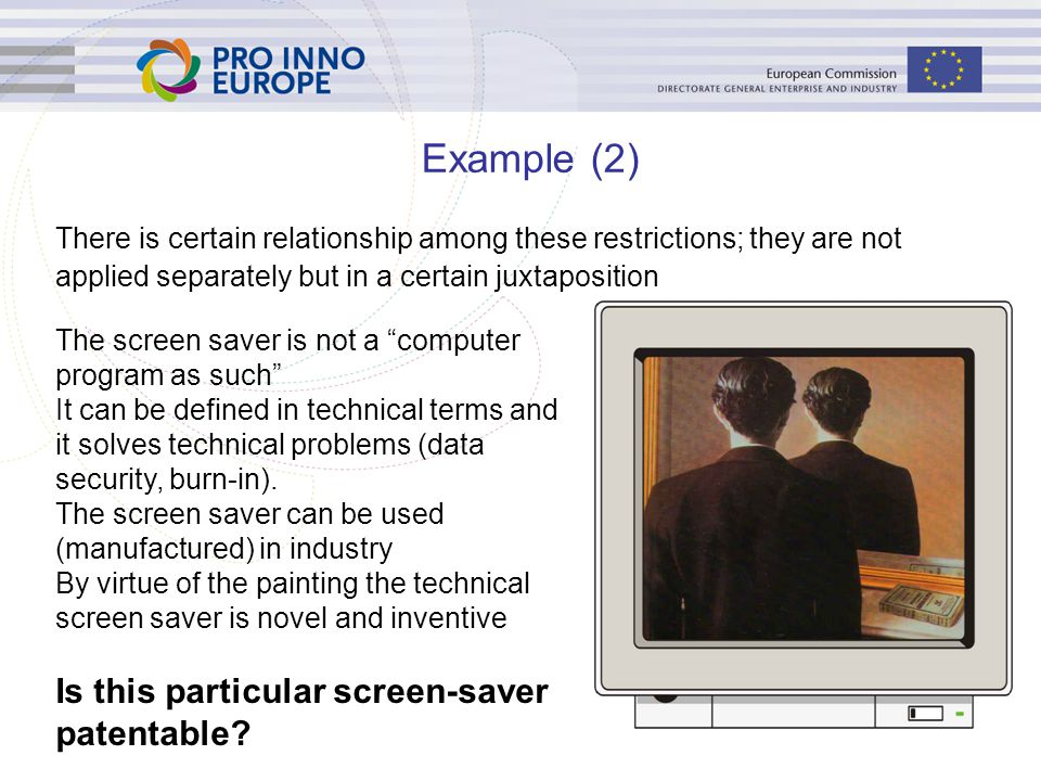 Example (2) Is this particular screen-saver patentable