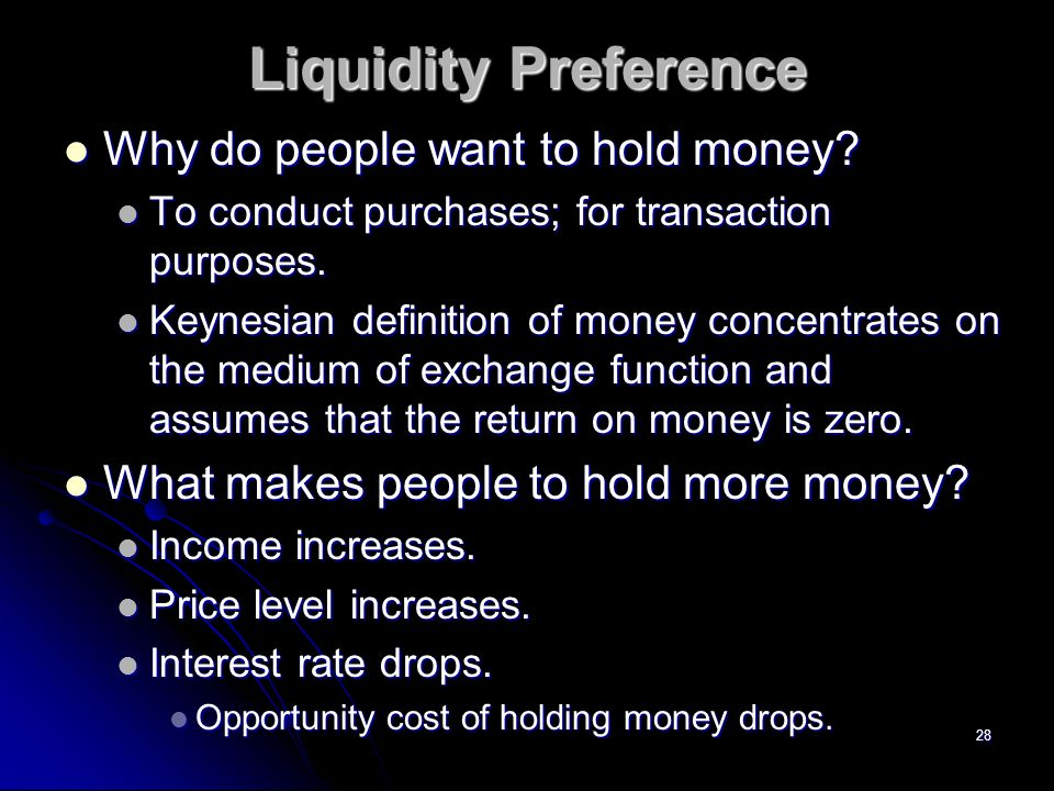 Liquidity Preference Why do people want to hold money