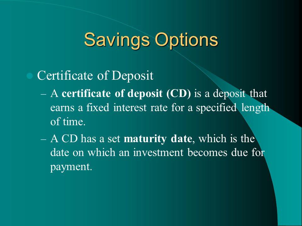 Savings Options Certificate of Deposit