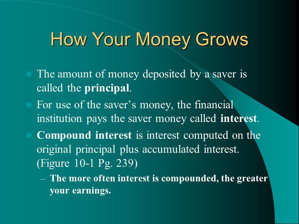 How Your Money Grows The amount of money deposited by a saver is called the principal.