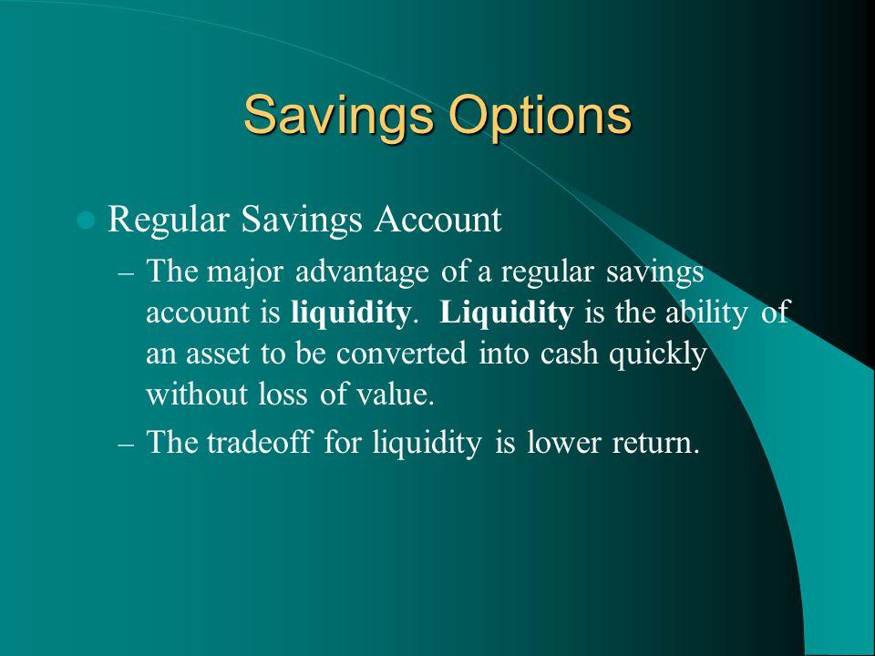 Savings Options Regular Savings Account