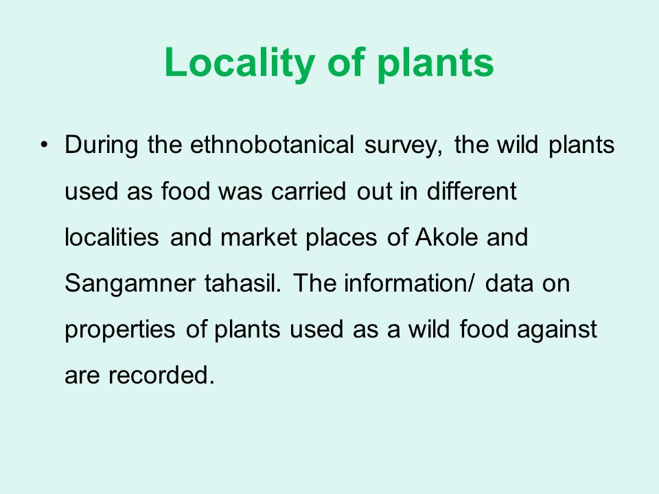 Locality of plants