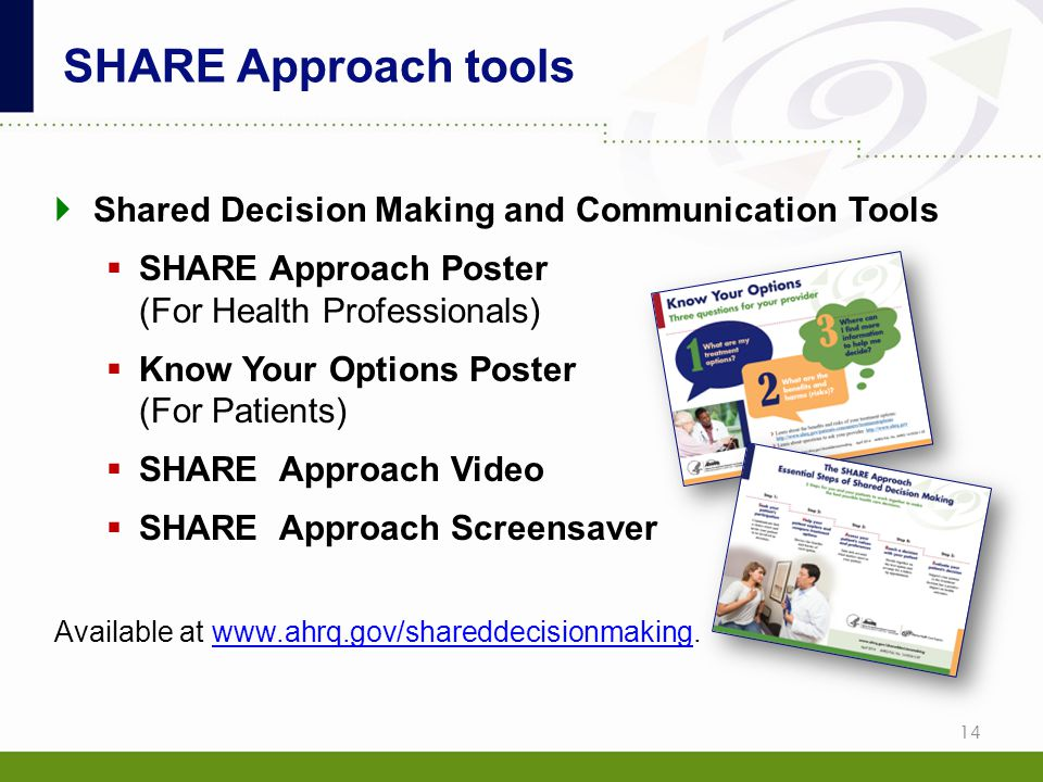 SHARE Approach tools Shared Decision Making and Communication Tools