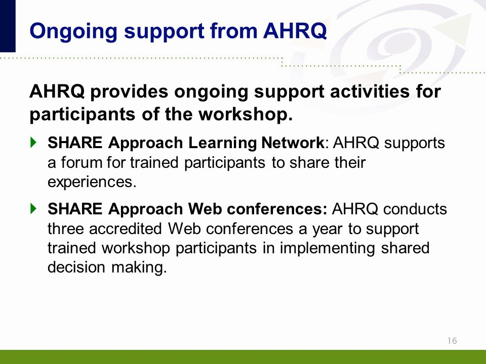 Ongoing support from AHRQ