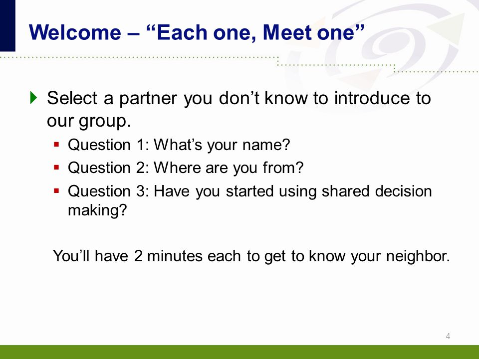 Welcome – Each one, Meet one