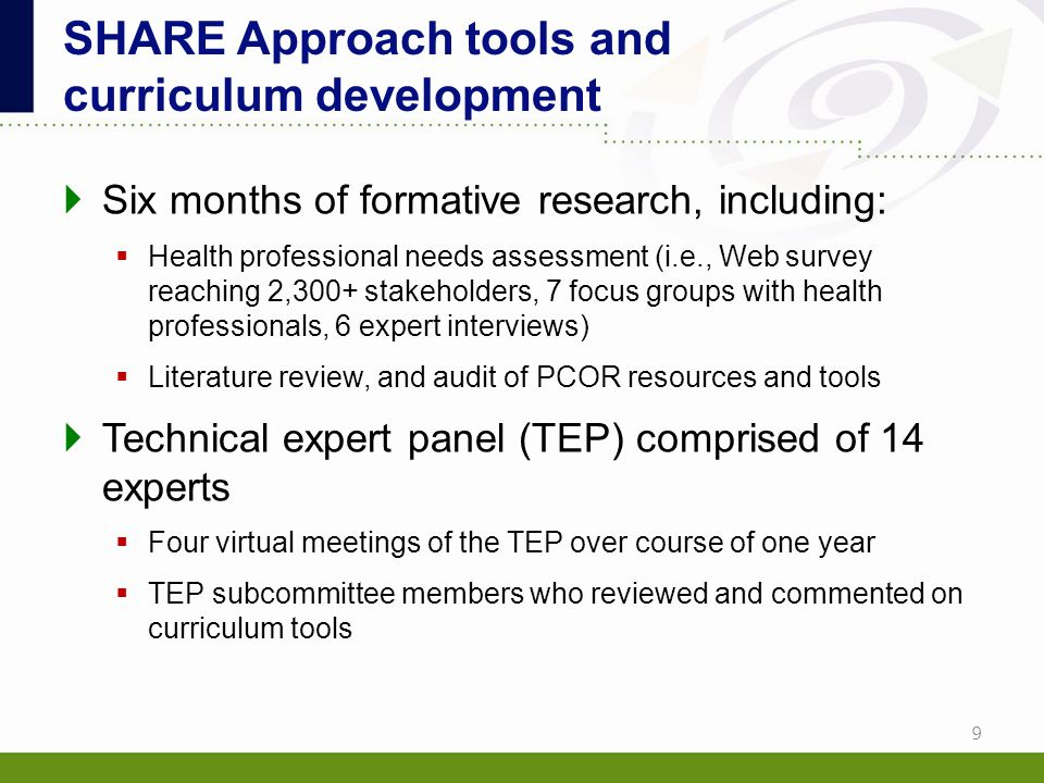 SHARE Approach tools and curriculum development